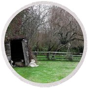 Round Beach Towel featuring the photograph Sheep Shed by Lorraine Devon Wilke