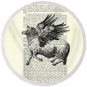 Sheep With Angel Wings Black And White  Round Beach Towel