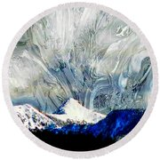 Sheep's Head Peak April Snow II Round Beach Towel by Anastasia Savage Ealy