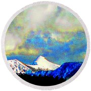 Sheep's Head Peak After April Snow Round Beach Towel by Anastasia Savage Ealy
