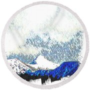 Sheep's Head Peak April Snow Round Beach Towel by Anastasia Savage Ealy