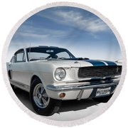 Round Beach Towel featuring the digital art Shelby Mustang Gt350 by Douglas Pittman