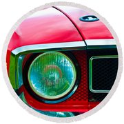 Red Shelby Mustang Round Beach Towel