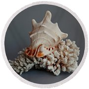 Shell And Coral Round Beach Towel