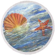 Shell Star  Round Beach Towel