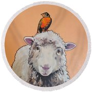 Shelley The Sheep Round Beach Towel