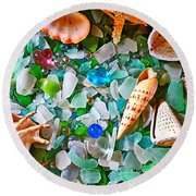 Shells And Glass Round Beach Towel