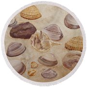 Shells And Stones Round Beach Towel