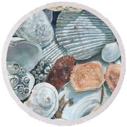 Shells Of The Puget Sound Round Beach Towel