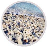 Shells On Shore Round Beach Towel