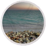 Shells On The Shore Round Beach Towel