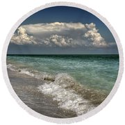 Round Beach Towel featuring the photograph Shells, Surf And Summer Sky by Greg Mimbs