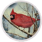 Shelly's Cardinal Round Beach Towel
