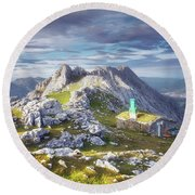 Shelter In The Top Of Urkiola Mountains Round Beach Towel