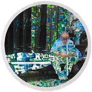 Round Beach Towel featuring the mixed media Shelter by Tony Rubino