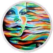 Sheltered By The Wind Round Beach Towel