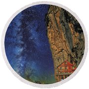 Sheltered From The Vastness Round Beach Towel