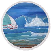 Sheltered Waves Round Beach Towel by T Fry-Green