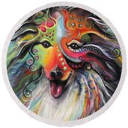 Sheltie  Round Beach Towel by Patricia Lintner