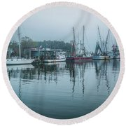 Shem Creek Fog Round Beach Towel