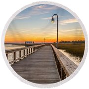 Shem Creek Pier Panoramic Round Beach Towel