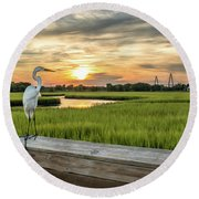 Shem Creek Pier Sunset Round Beach Towel