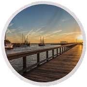 Shem Creek Pier Sunset - Mt. Pleasant Sc Round Beach Towel