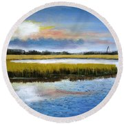 Shem Creek Sky Round Beach Towel