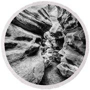 Shenandoah Caverns Slot Canyon Round Beach Towel by Kevin Blackburn