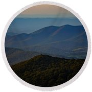 Shenandoah Valley At Sunset Round Beach Towel
