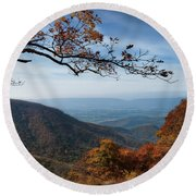 Shenandoah Valley From The Mountain Top Round Beach Towel