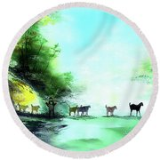 Round Beach Towel featuring the painting Shepherd by Anil Nene