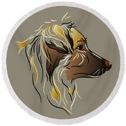 Shepherd Dog In Profile Round Beach Towel