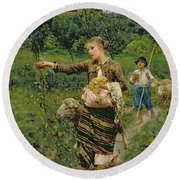 Shepherdess Carrying A Bunch Of Grapes Round Beach Towel
