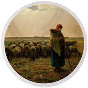 Shepherdess With Her Flock Round Beach Towel