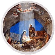 Shepherds Field Nativity Painting Round Beach Towel by Munir Alawi