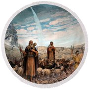 Shepherds Field Painting Round Beach Towel by Munir Alawi