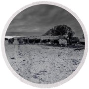 Round Beach Towel featuring the photograph Shepherds Work by Keith Elliott