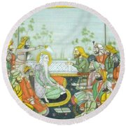 Sher A Punjab Sikh Maharaja Ranjit Singh Court Scene Miniature Painting Of India Watercolor Artwork Round Beach Towel