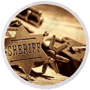 Sheriff Tools Round Beach Towel by American West Legend By Olivier Le Queinec