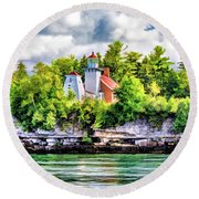 Round Beach Towel featuring the painting Sherwood Point Lighthouse by Christopher Arndt