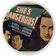 She's Dangerous 1937 Round Beach Towel
