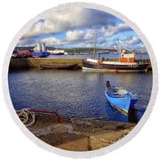 Round Beach Towel featuring the photograph Shetland Boats by Lynn Bolt