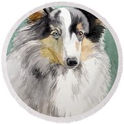 Shetland Sheep Dog Round Beach Towel