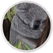 Round Beach Towel featuring the pastel Shhhhh Koala Bear Sleeping by Kelly Mills
