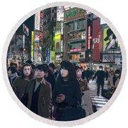 Shibuya Crossing, Tokyo Japan Poster 2 Round Beach Towel