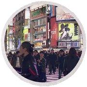 Shibuya Crossing, Tokyo Japan Poster 3 Round Beach Towel