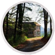 Round Beach Towel featuring the photograph Shields Farm by Kathryn Meyer