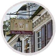 Shields Tavern Sign Round Beach Towel