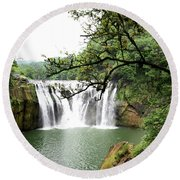 Shifen Waterfall  Round Beach Towel